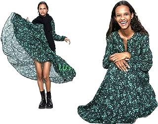 ZARA NEW PLEATED YELLOW LONG FLOWING DRESS SIZE XS S M L XL