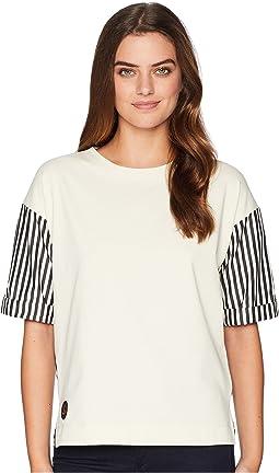 Poplin-Sleeve Jersey T-Shirt