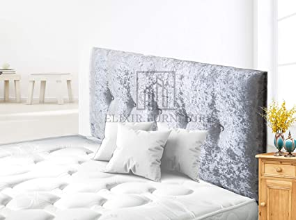 Elixir Furniture Divan Bed Headboard Elegant Madrid Crushed Velvet Bright Bedroom Decor Silver Double 4 Feet 6 Inches Height 20 Inches Amazon Co Uk Home Kitchen