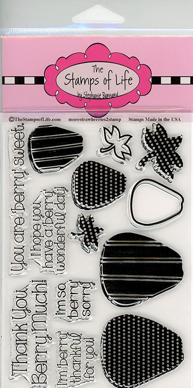 Sentiment Strawberry Clear Stamps for Scrapbooking and Card-Making by The Stamps of Life - MoreStrawberries2Stamp