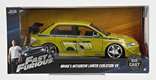Fast & Furious New 1:24 W/B JADA Collection - Brian's Mitsubishi Lancer Evolution VII Green The Fast and The Furious Movie Diecast Model Car by Jada Toys