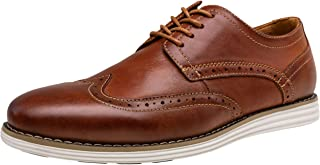 VOSTEY Men's Dress Shoes Leather Oxfords Brogue Wingtip Office Shoes (15,Oxblood)