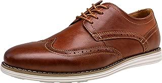 VOSTEY Men's Dress Shoes Leather Brogue Wingtip Oxford Shoes