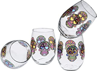Culver Stemless Wine Glasses, 15-Ounce, Set of 4 (Sugar Skulls Clear)