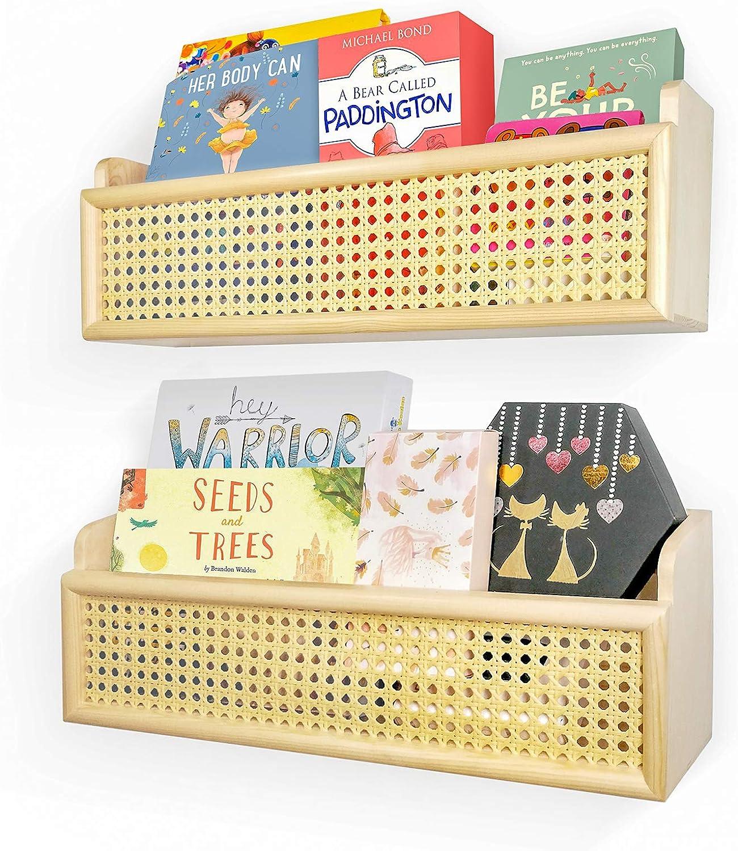 Orangepals Rattan Wall Shelf, Nursery Book Shelves, Book Shelf for Wall, Boho Wall Shelves, Rattan Bookshelf, Rattan Wall Decor, Baby Bookshelf for Nursery, Wicker Bookshelf, Rattan Furniture