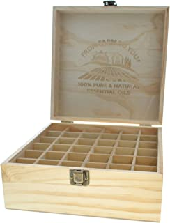 Essential Oils Wooden Box - Quality Storage Case For Aromatherapy (Holds 36)
