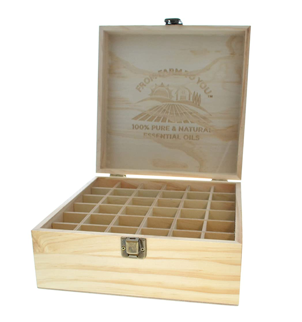 GuruNanda Essential Oils Wooden Box - Quality Storage Case Holds 36 Aromatherapy Oil Bottles and Roller Ball Bottles