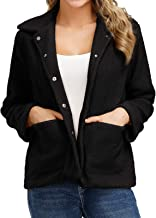 Kate Kasin Fuzzy Jacket for Women, Fuzzy Faux Shearling Lapel Fleece Snap Buttons Coat Winter Outwear with Pockets