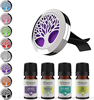 mEssentials Tree of Life Aromatherapy Car Air Freshener Essential Oil Car Vent Diffuser With Vent Clip and 8 Color Refill Pads 4 Essential Oils (Lavender, Peppermint, Inner Calm, Zen) Gift Set