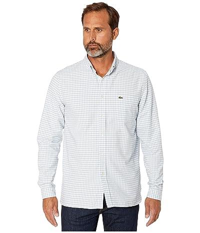 Lacoste Long Sleeve Oxford Gingham Button Down Collar Regular (White/Breeze) Men