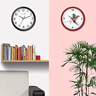 Story@home 10-inchRound Shape Set of 2 Wall Clock with Glass for Home/Kitchen/Living Room/Bedroom (Black and Red Frame)