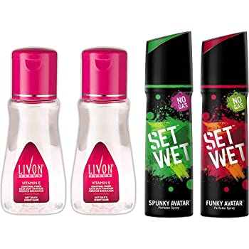 Livon Serum, 100ml (Pack of 2) And Set Wet Perfume, 120ml (Spunky and Funky Avatar, Pack of 2)