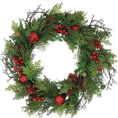 """Northlight 24"""" Rustic Red Jingle Bell, Berry and Pine Cone Artificial Christmas Wreath"""