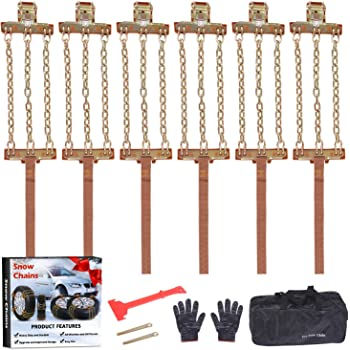 EASE2U E Snow Chains, Tire Chains for Suvs, Cars, Sedan, Family Automobiles,Heavy Trucks with Update Adjustable Lock for Ice, Snow,Mud,Sand,Applicable Tire Width 215-315mm/8.5-12.4in(6 Pack)