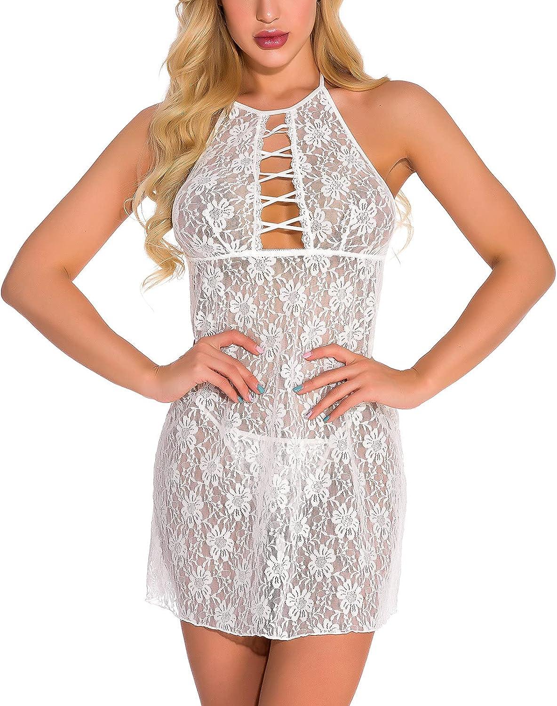 Lingerie for Women Eyelash Babydoll Lace Chemise Sexy Sleepwear Hollow Halterneck Nightgown Backless Nightdress
