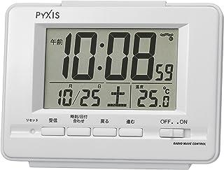 セイコー クロック 目覚まし時計 電波 デジタル カレンダー 温度 表示 PYXIS ピクシス 白 パール NR535H SEIKO