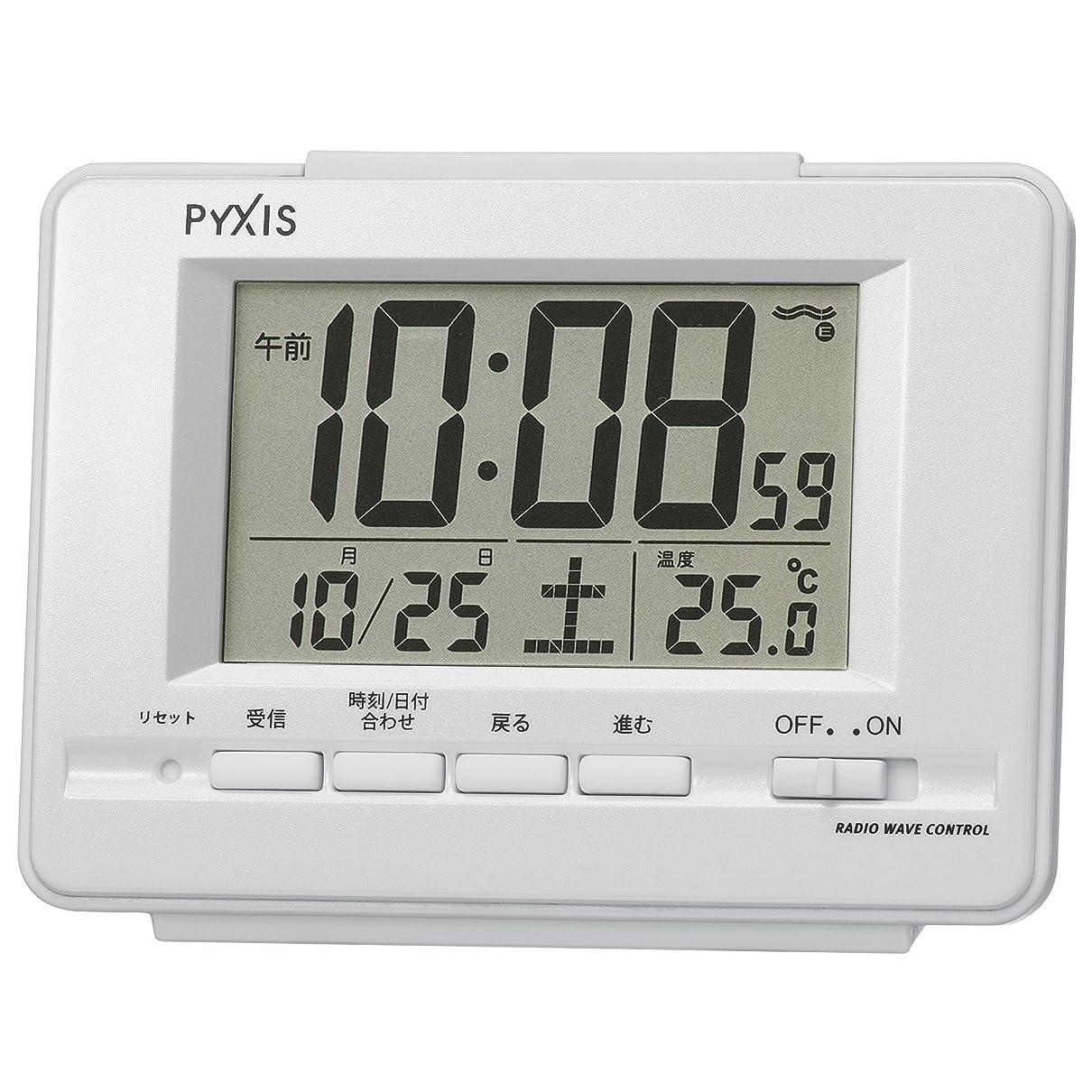 トーナメントごちそうカルシウムセイコー クロック 目覚まし時計 電波 デジタル カレンダー 温度 表示 PYXIS ピクシス 白 パール NR535H SEIKO