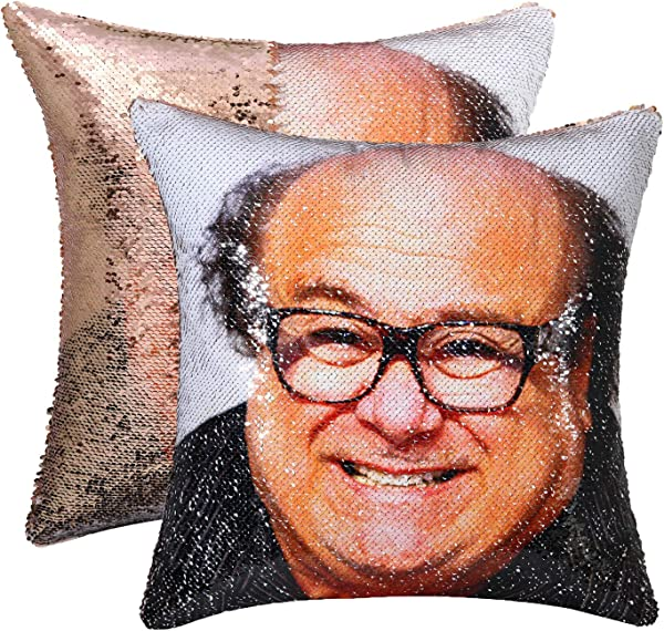 Cygnus Sequin Mermaid Pillow Cover Danny Devito Face Funny Reversible Magic Throw Pillow Case That Color Changes 16x16 Champagne Gold