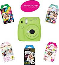 Fujifilm Instax Mini 9 Instant Camera | Includes 2 Rainbow Film Packs (20 Photo Sheets Total) | Auto Lens & Light Exposure Setting | Certified Refurbished (Lime Green)