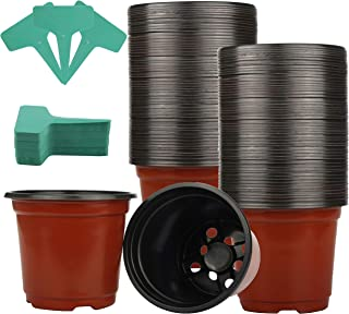 100 Pack 6'Plastic Plant Nursery Pots for Seedling & Cutting, Plant Seed Starting with 50 Pcs Green Plant Labels