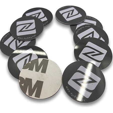10 NFC Tags | NXP Chip Ntag213 | 144 byte di memoria | etichette nere rotonde | elevata forza di scansione | PVC Rigido e Adesivo 3M forte .