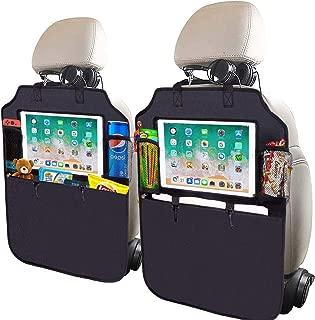 SRAMI 踢脚垫汽车座椅靠背?;ぷ爸?座椅背面收纳袋 2 件 XL 带 1 个纸巾盒透明 33.02 cm iPad 座大收纳袋