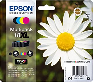 Epson 18XL - Pack de 4 cartuchos de tinta, tricolor y negro, XL válido para los modelos XP-425, XP-422, XP-415, XP-412, X...