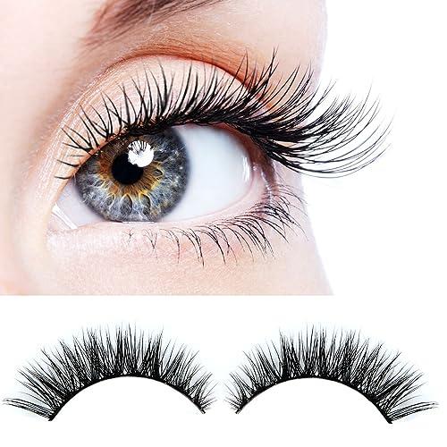 f7f8d2ee883 ELVASEN Handmade 3D luxurious 100% Real Mink Natural Long Cross False  eyelashes - Reusable Makeup