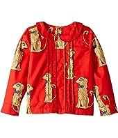mini rodini - Spaniels Woven Pleat Blouse (Infant/Toddler/Little Kids/Big Kids)