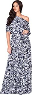 Womens Long 3/4 Sleeve Sexy One Shoulder Casual Printed Maxi Dress