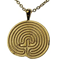"product image for From War to Peace Minoan Labyrinth Gold-Dipped Pendant Necklace on 18"" Rolo Chain"