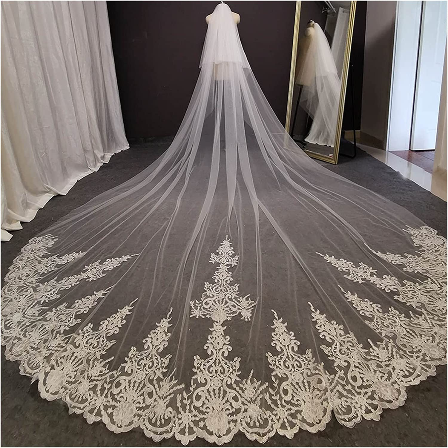 HAQTXI 2 Tier New York Mall Long Lace Our shop most popular Wedding Bridal Blush with Comb Veil