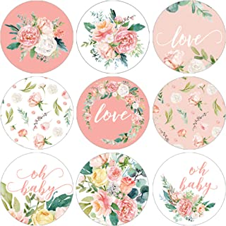 Pink Floral Baby Shower Favor Labels - 180 Stickers