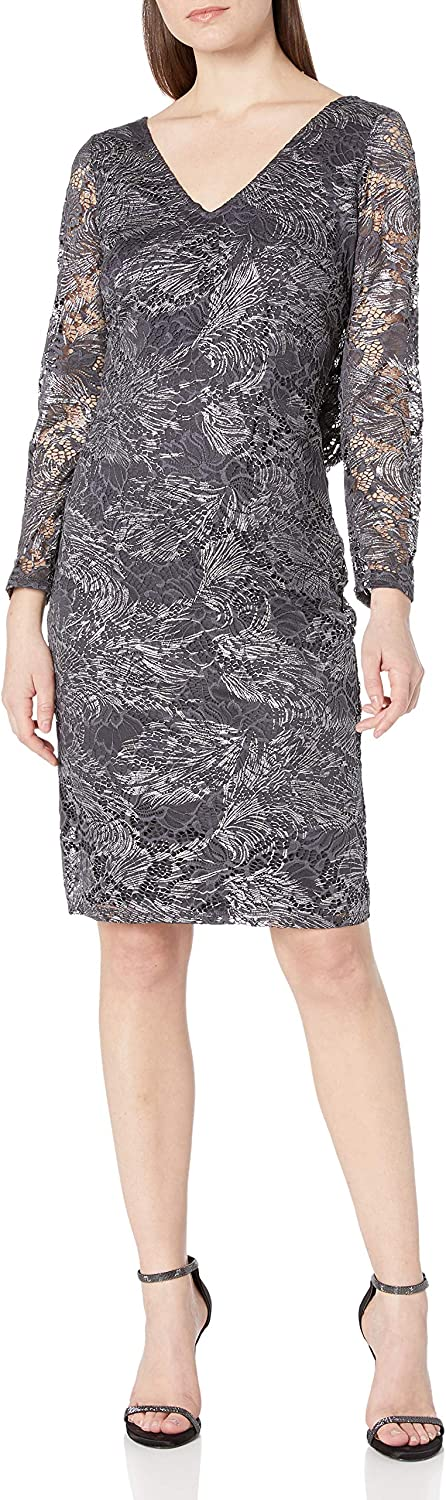 Marina Women's Foiled Lace Cocktail Dress