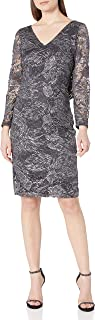 Marina womens foiled lace cocktail dress Cocktail Dress