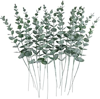 CEWOR 24pcs Artificial Eucalyptus Leaves Stems Real Grey Green Touch Branches for Home Office Centerpiece Wedding Banquet ...