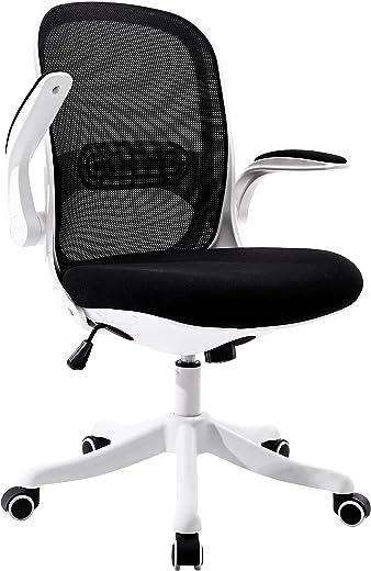 BERLMAN Bürostuhl mit klappbare Armlehnen, Schreibtischstuhl aus Netzstoff, Höheverstellbarer Drehstuhl, Bürodrehstuhl mit Wippfunktion für kleine…