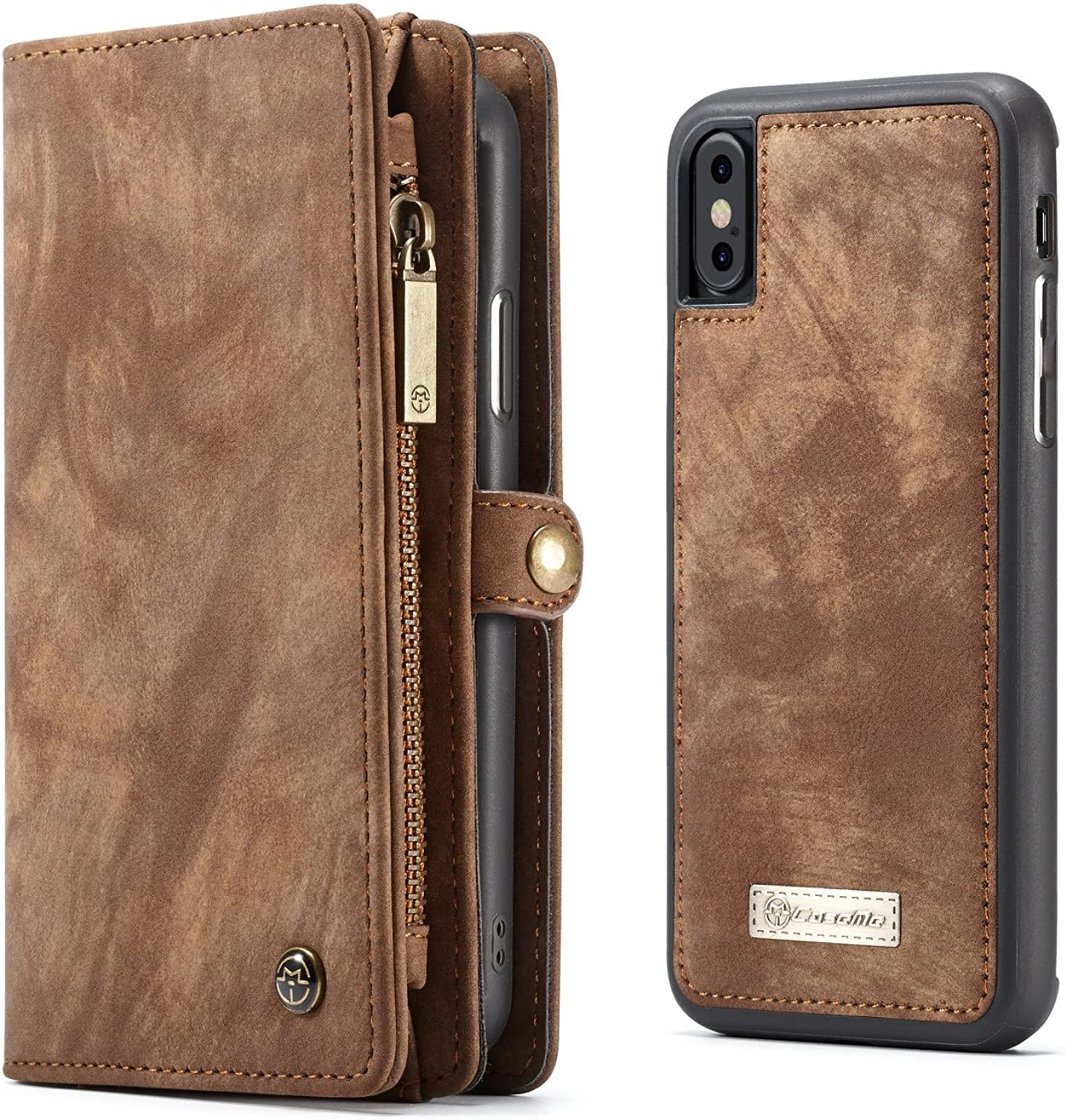 KONKY Caseme iPhone X Wallet Case, Magnetic Detachable Removable Phone Cover Pouch Folio Durable Leather Purse Flip Card Pockets Holder Bag Smooth ZipperBrown