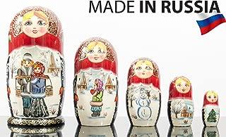 Russian Nesting Doll -Village Scenes - Hand Painted in Russia - 5 color/size variations - Traditional Matryoshka Babushka (6.75``(5 dolls in 1), Scene E)