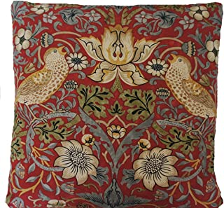 Textile London William Morris Cushion Cover Strawberry Thief Red Floral Printed Cotton Fabric 16