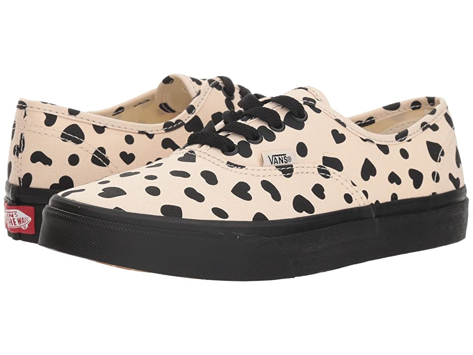 Vans Kids Authentic (Little Kid/Big Kid) ((Cheetah Hearts) Sand Dollar/Black) Girls Shoes