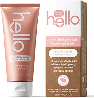 Hello Vegan Sensitivity Relief Fluoride Toothpaste, Soothing Fresh Mint, Moisturizing Coconut Oil + Aloe Vera, 4 Ounce