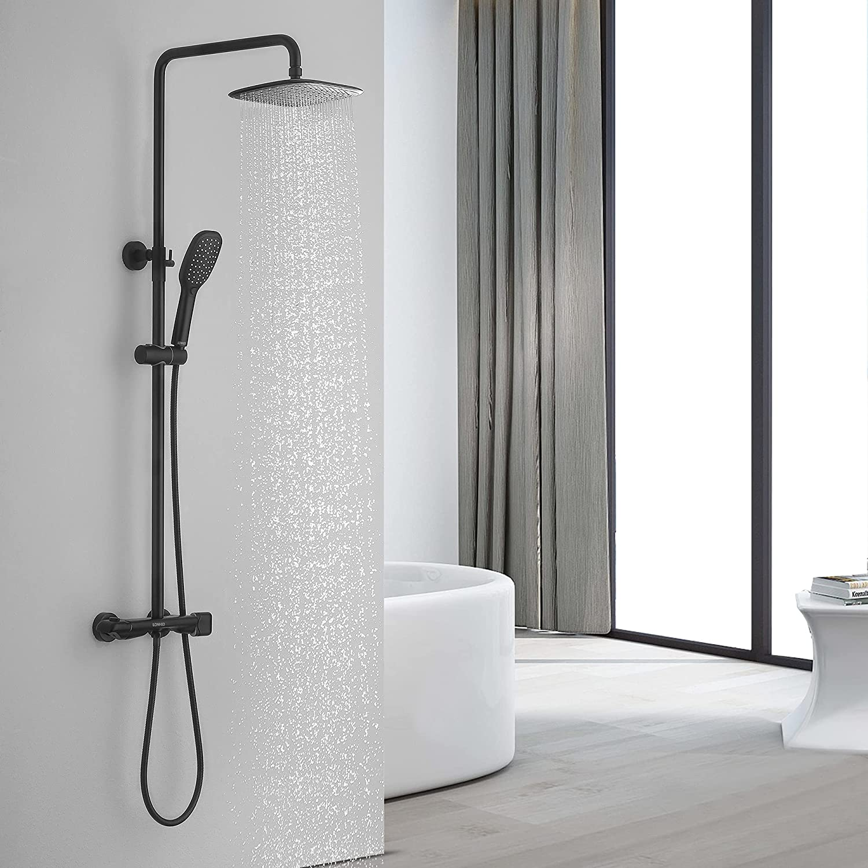 Lonheo Bad Regendusche mit Thermostat Duschsäule Duschsystem ...