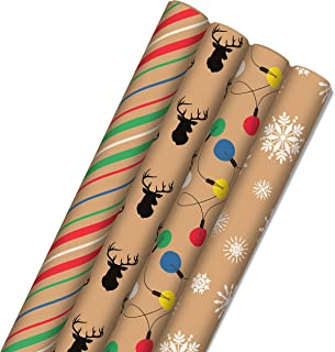 Hallmark Recyclable Christmas Wrapping Paper for Kids with Cut Lines on Reverse (4 Rolls: 88 sq. ft. ttl) Kraft Brown with...