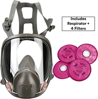 3M Respirator Kit, Full Face 6800, Reusable, Medium, Plus 4 Particulate Filters 2097, P100 for Mold Remediation, Dust, Lead, Asbestos