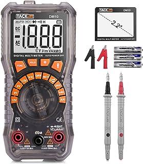 Multímetro digital, TACKLIFE DM10 digital eléctrica Tester auto rango de batería Tester AC/DC voltaje AC/DC actual resistencia diodo medidor de medición con NCV, linterna y retención de datos
