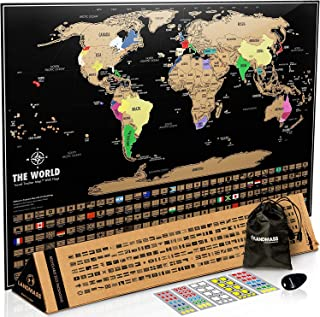 Landmass Scratch Off Map Of The World - Black Scratch Off World Map Poster with Flags - World Map Scratch Off - Vibrant Co...