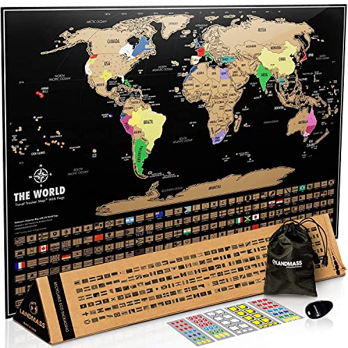 ddf1a89ec42f7 Landmass Scratch Off World Map Poster. 17x24 Black and Gold Travel Tracker  Map w