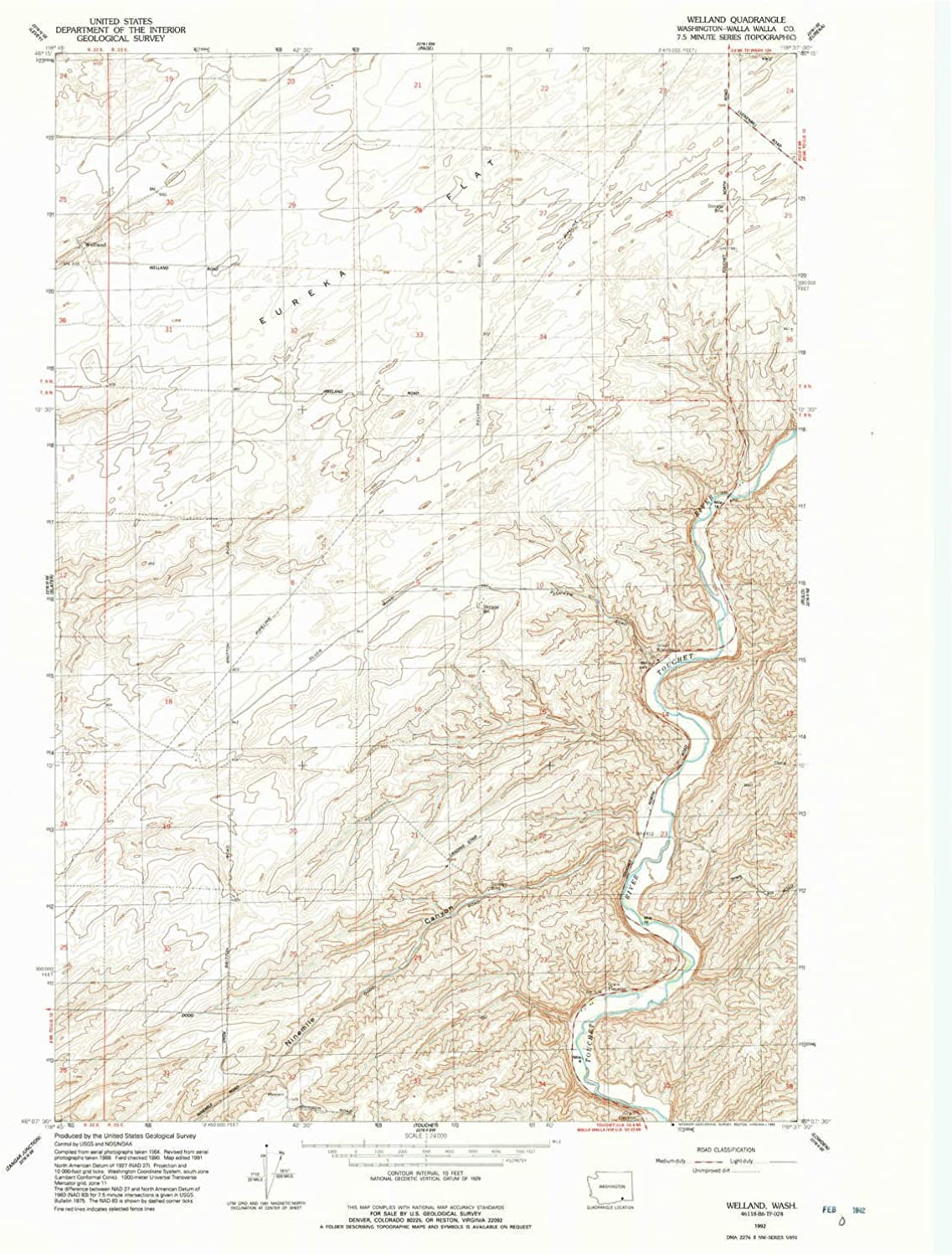 Welland WA topo map, 1 24000 Scale, 7.5 X 7.5 Minute, Historical, 1992, Updated 1992, 27 x 22.1 in