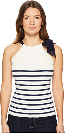 FUZZI Stripe Knit Tank Top Sweater